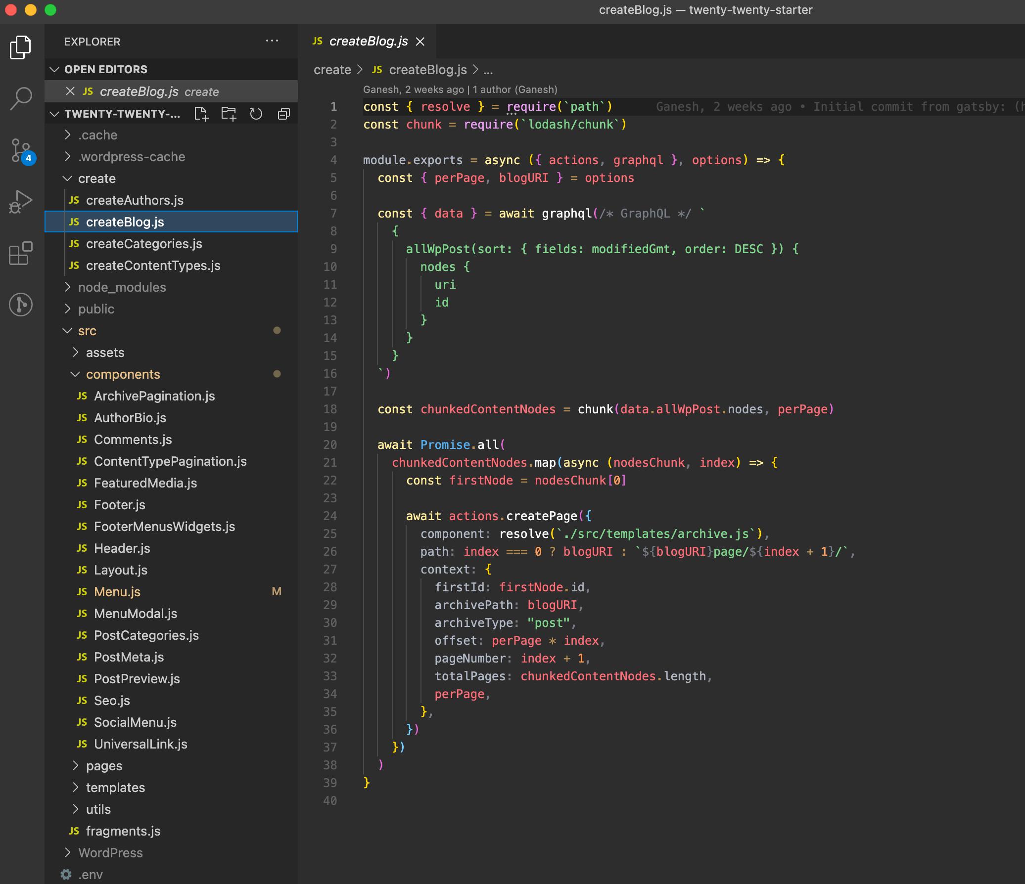 Screenshot showing Gatsby Starter WordPress Twenty Twenty's file structure.