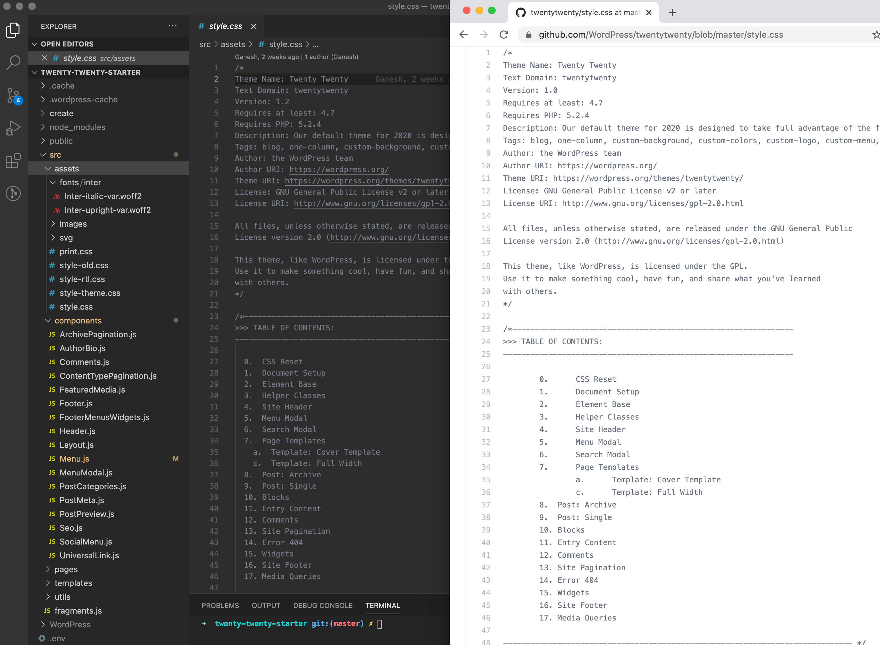 Screenshot showing the Gatsby StarterWordPress Twenty Twenty style.css file opened next to the WordPress Twenty Twenty theme's style.css file. The two contain the exact same code.