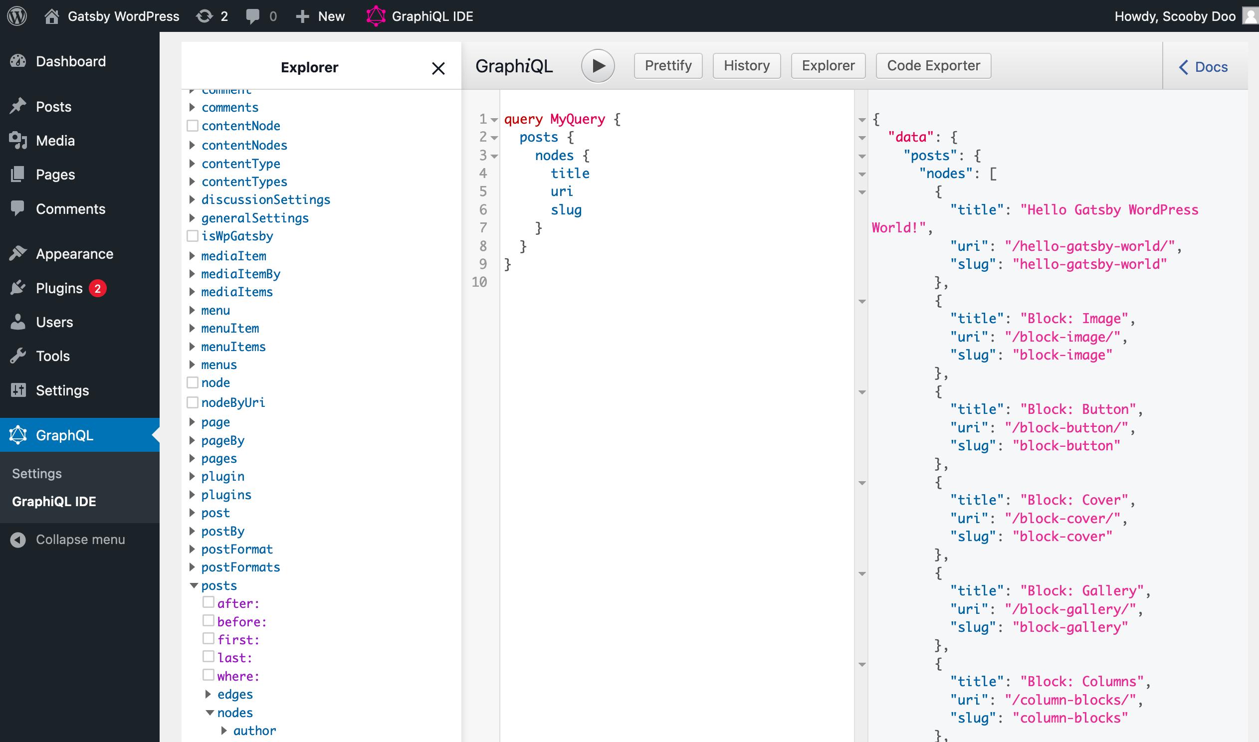 Screenshot of the GraphiQL UI in the WordPress admin, showing a three-panel UI.