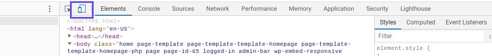 """The """"Toggle device toolbar"""" option in Chrome DevTools."""