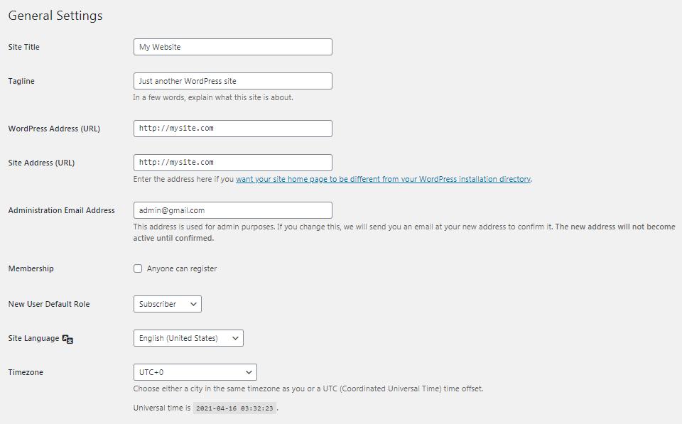 The WordPress General Settings screen.