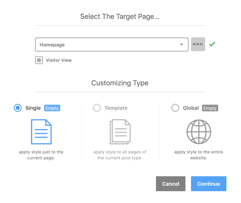 The YellowPencil Visual Customizer plugin interface.