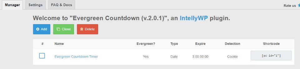 Evergreen Countdown Timer