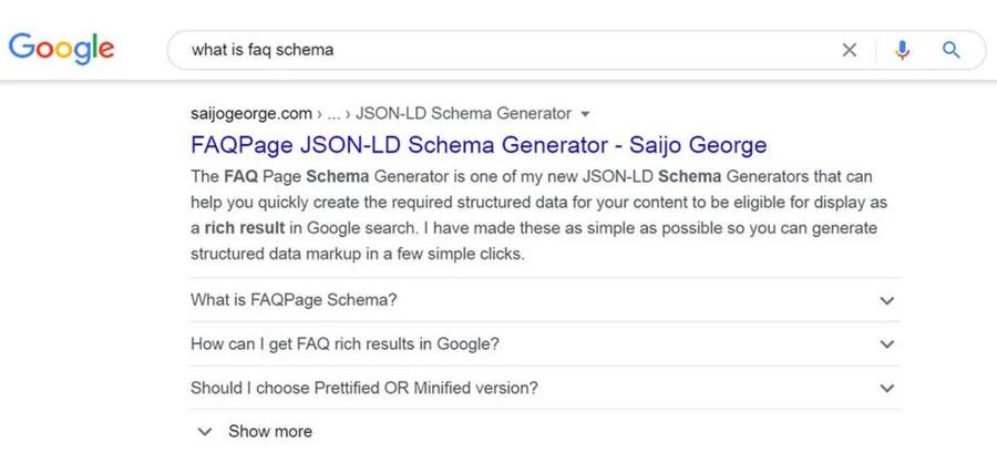 FAQ schema on google