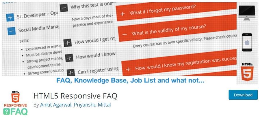 HTML5 Responsive FAQ WordPress plugin
