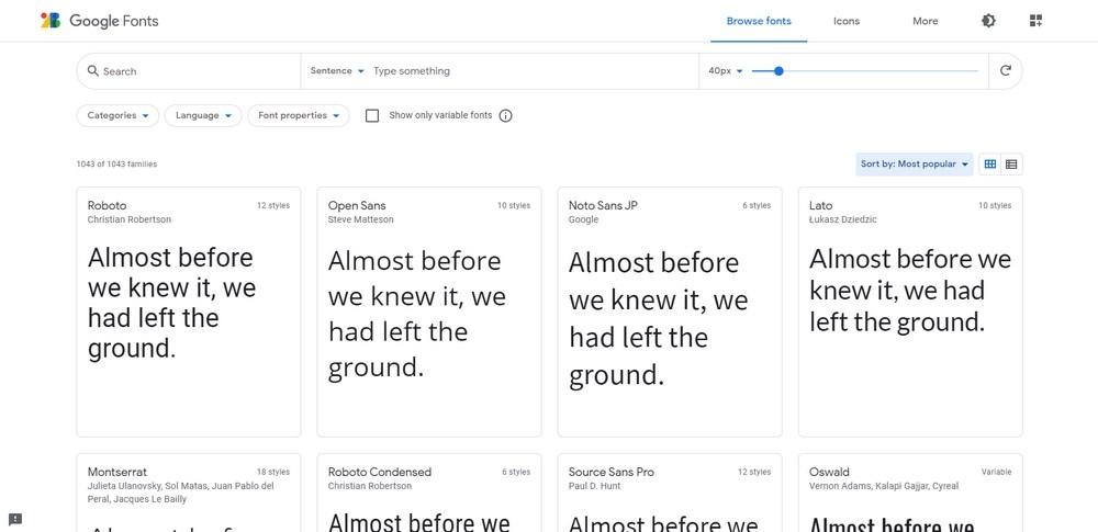 Most popular Google fonts