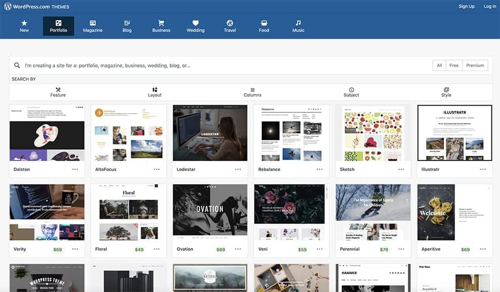 WordPress free online portfolio builder