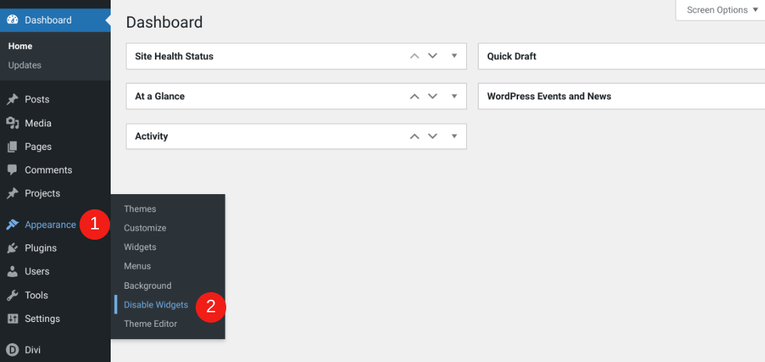 The menu item for the WP Widgets Disable plugin.