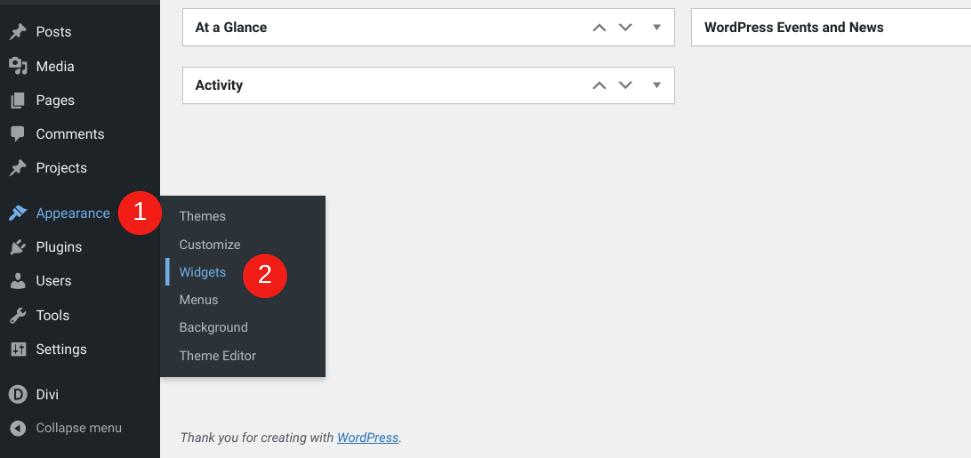 The WordPress Appearance > WidgetThe WordPress Appearance > Widgets menu item.s menu item.