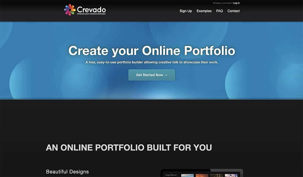 crevado free online portfolio site builder