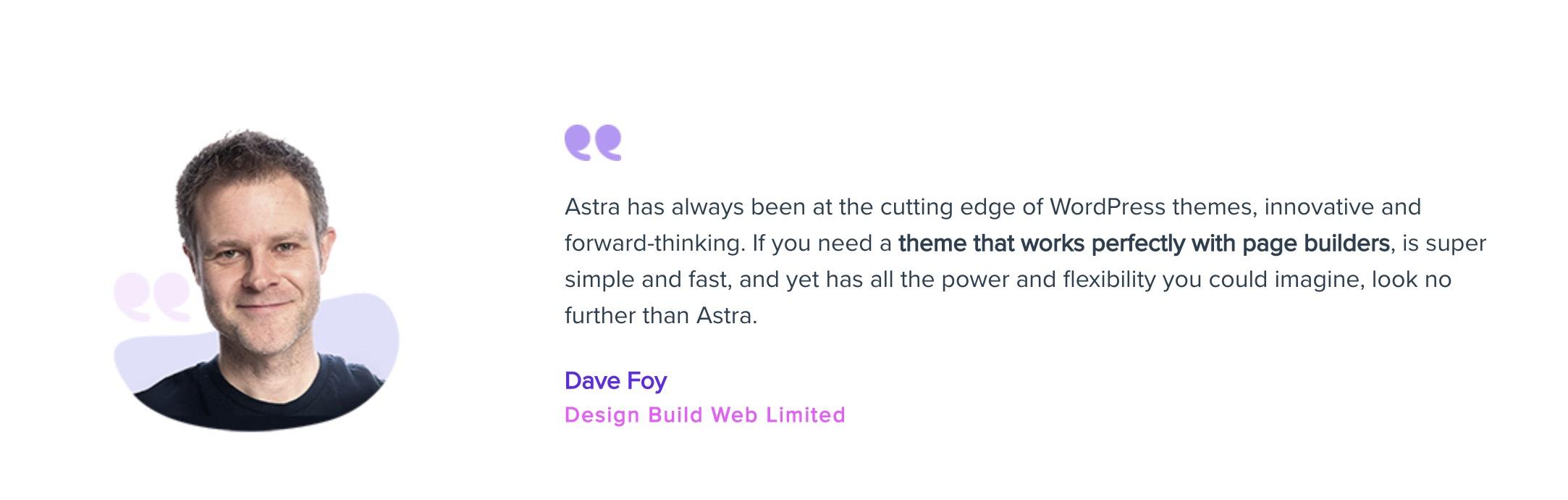 Astra testimonial - Dave Foy
