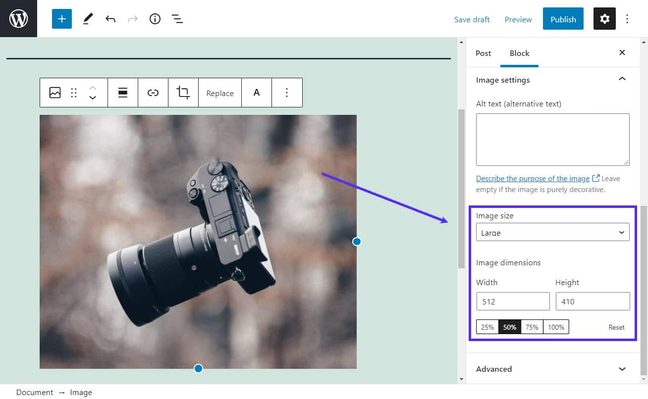 Changing the image size via Gutenberg.