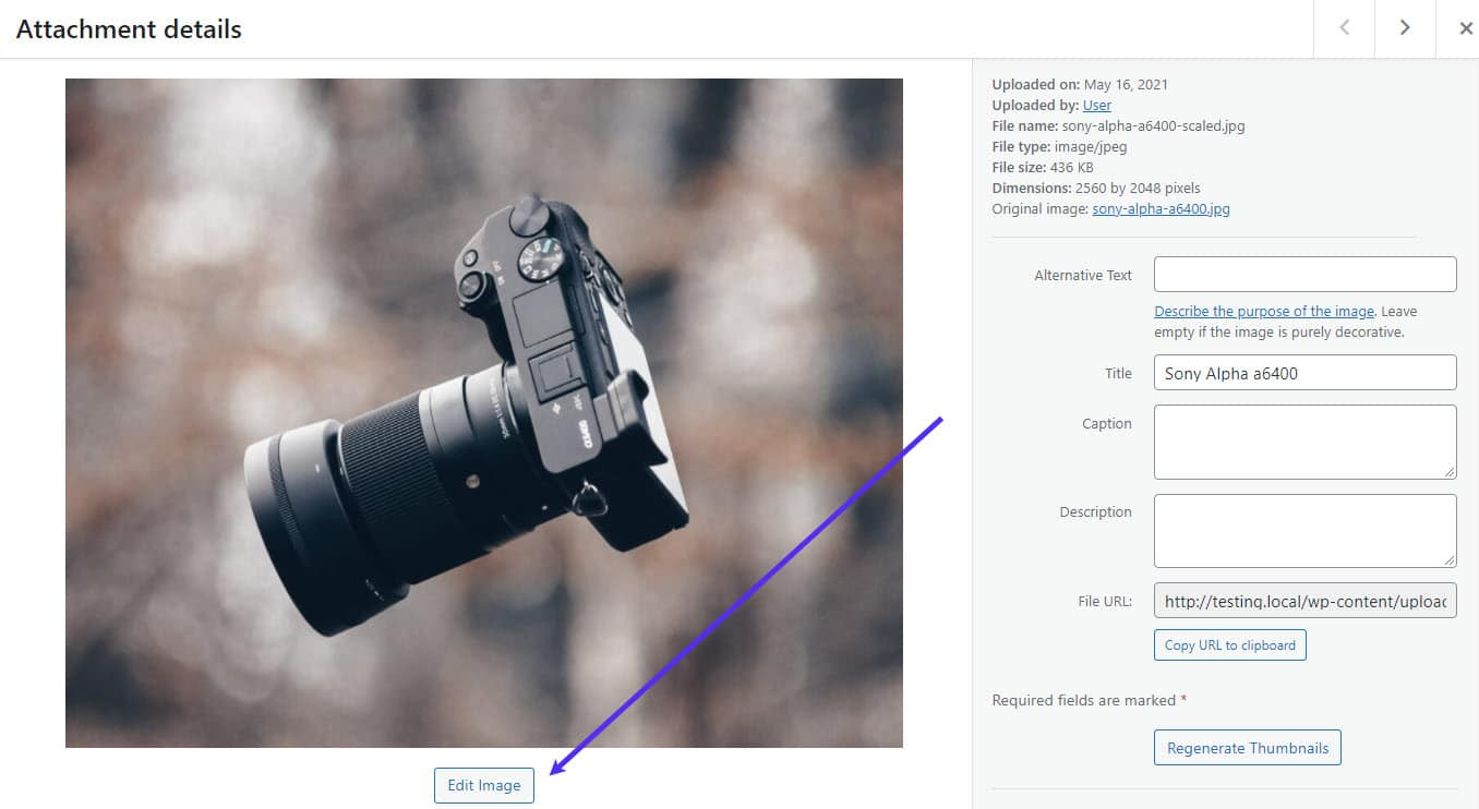 The Edit Image button.