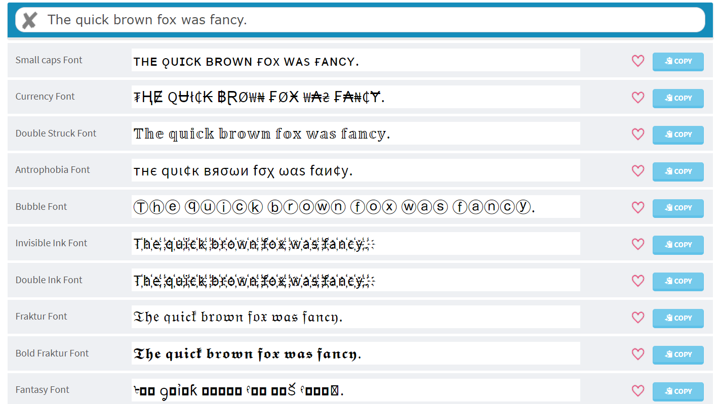 Post font options from Cool Fancy Text Generator.