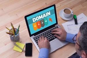 Man choosing a domain name.
