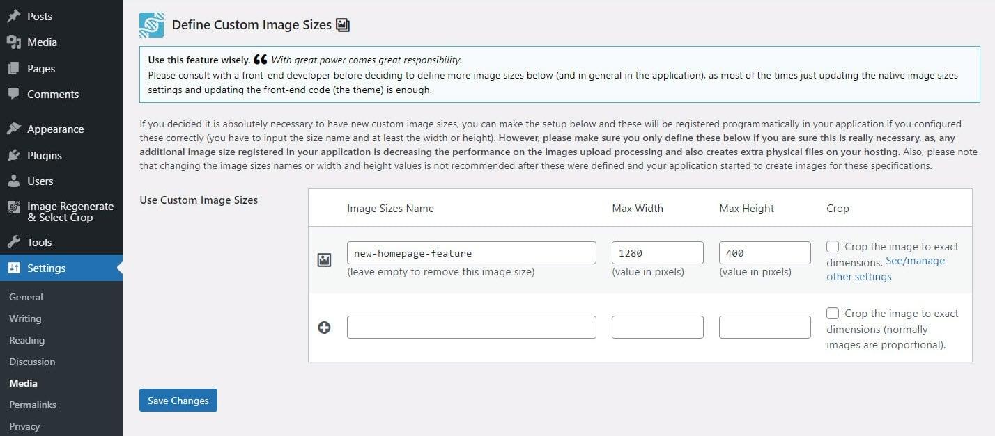 Custom image size options via the Image Regenerate & Select Crop plugin.