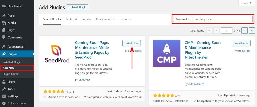 install coming soon page WordPress plugin