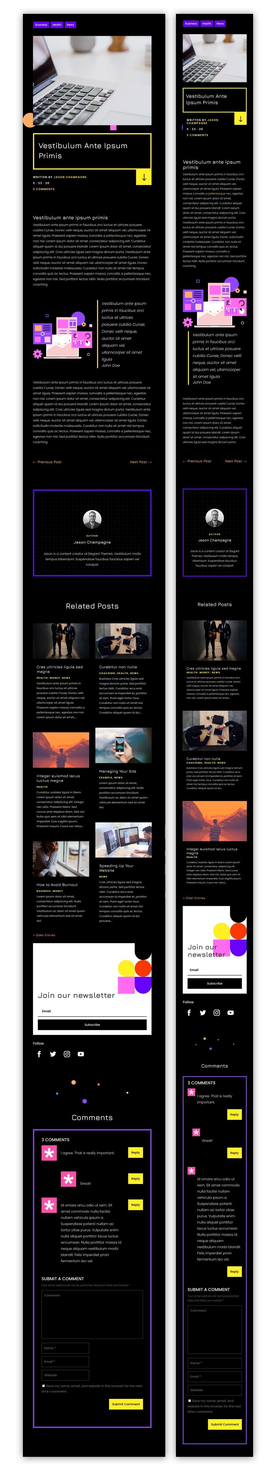 divi virtual conference blog post template