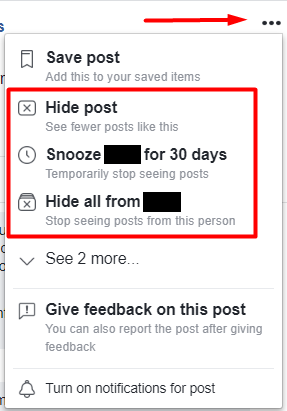 Facebook gives you settings to decide what you want to do with posts.