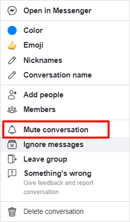 How to mute conversations on Facebook.