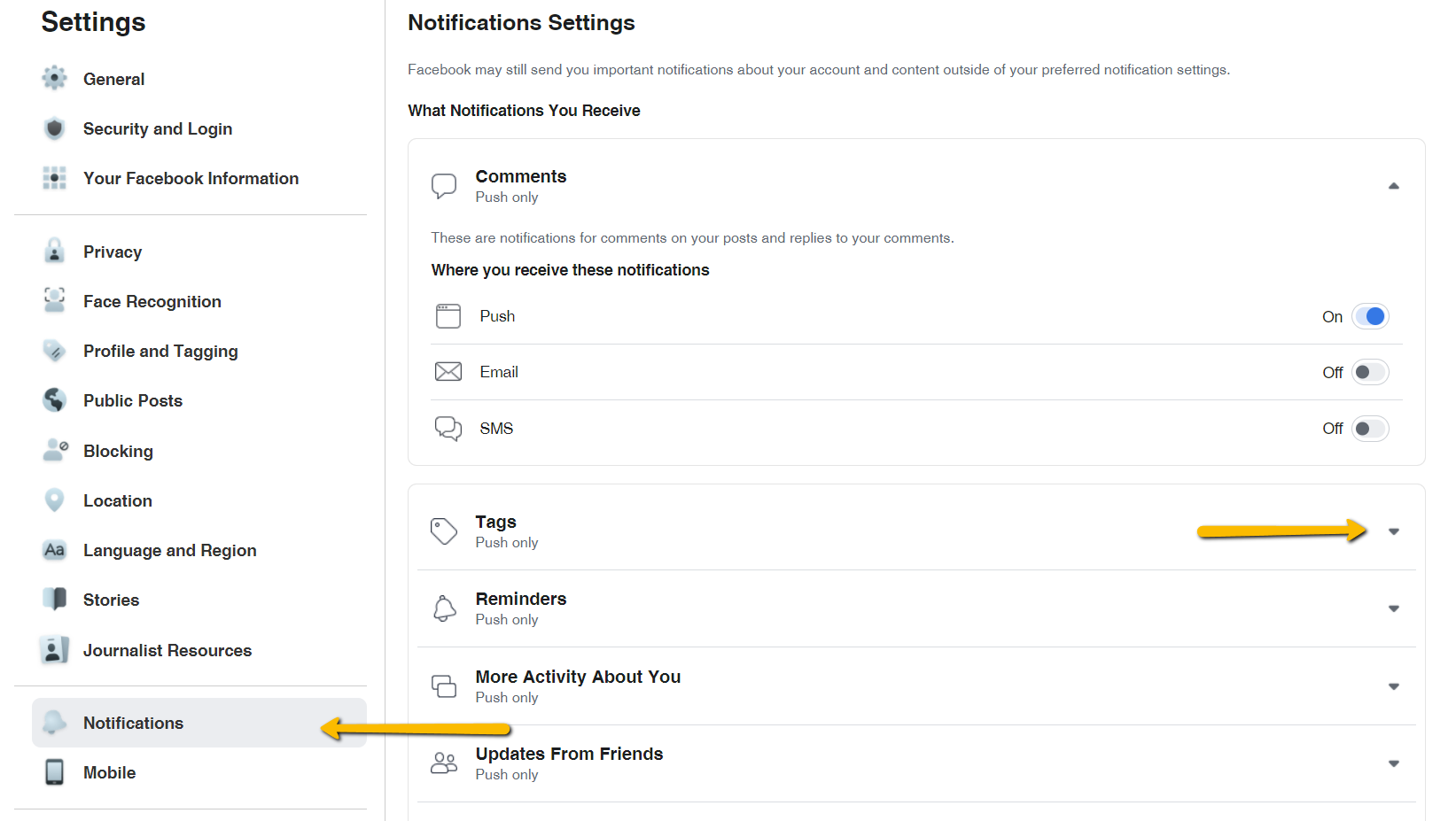 All notification settings are easily accessible in one place.