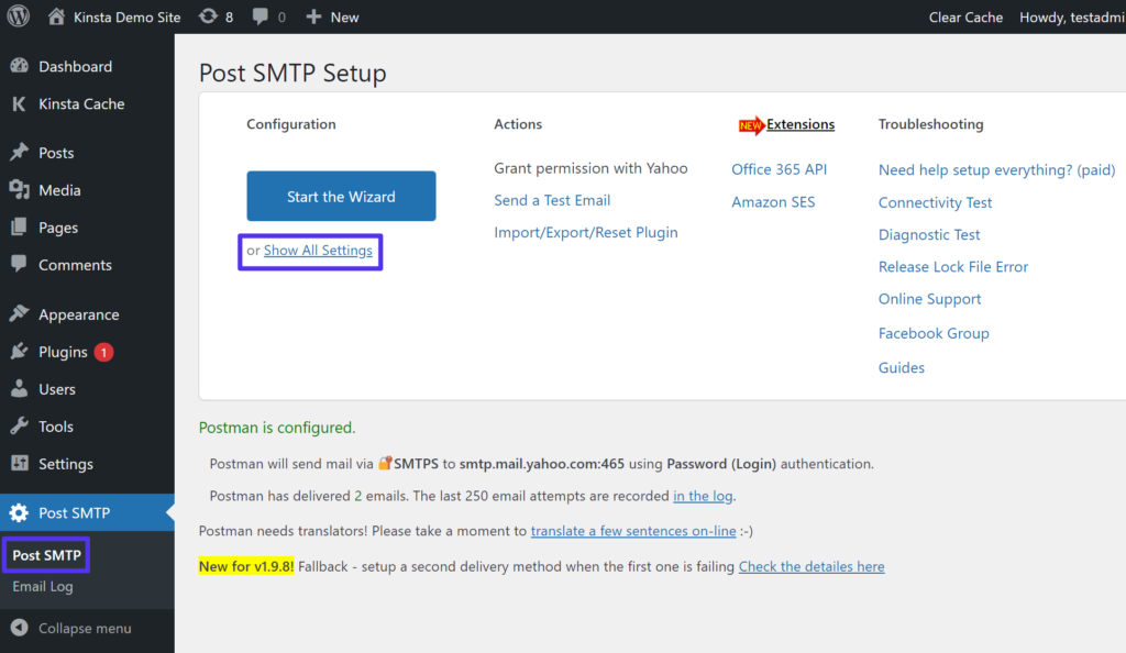 How to show all settings in Post SMTP.