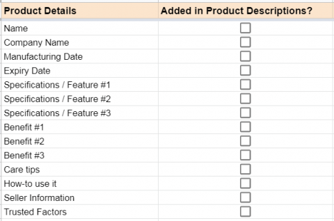 List down all the product information in Google Sheets before starting to write product descriptions that convert