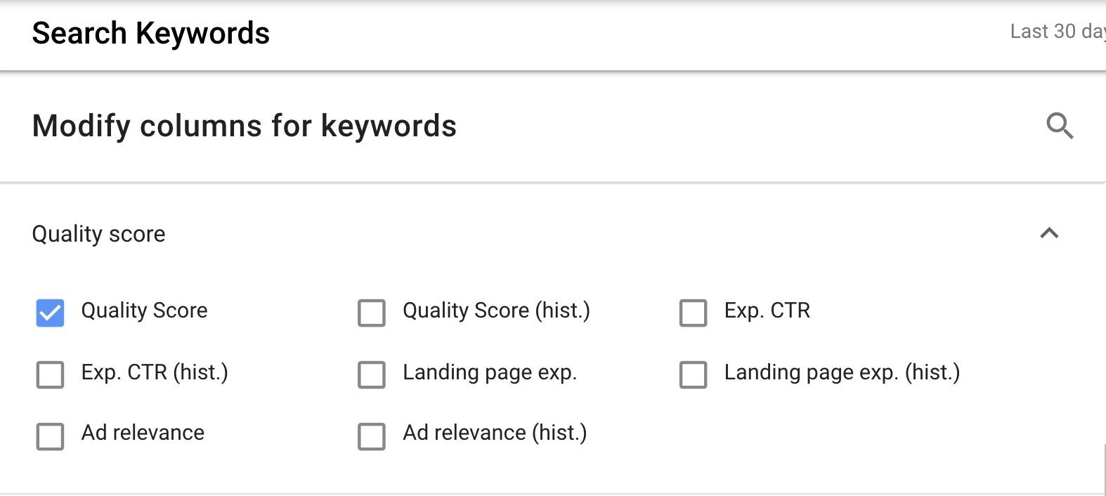 Google Ads Quality Score columns.