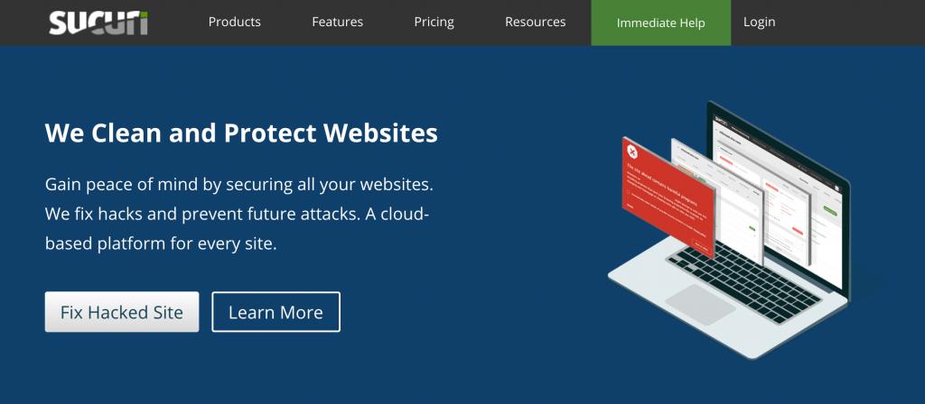 The Sucuri WAF website.
