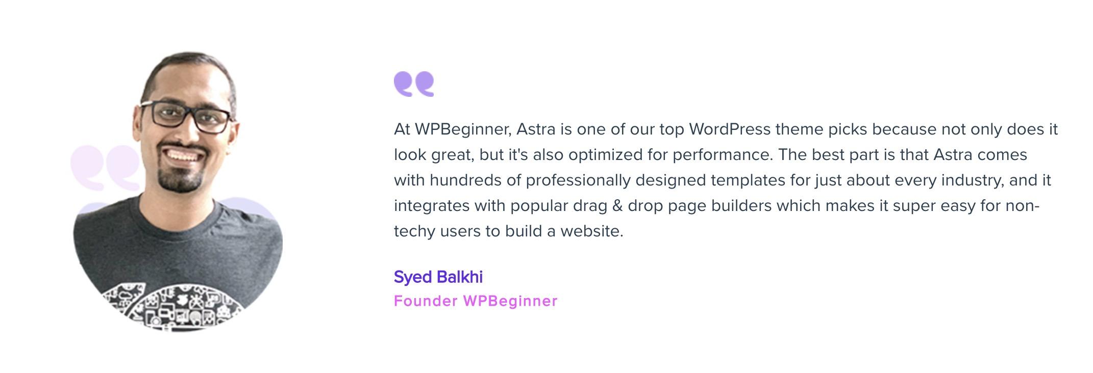 Astra testimonial - Syed Balkhi