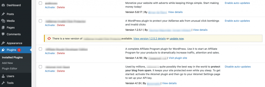 The option to update a WordPress plugin to its latest version.