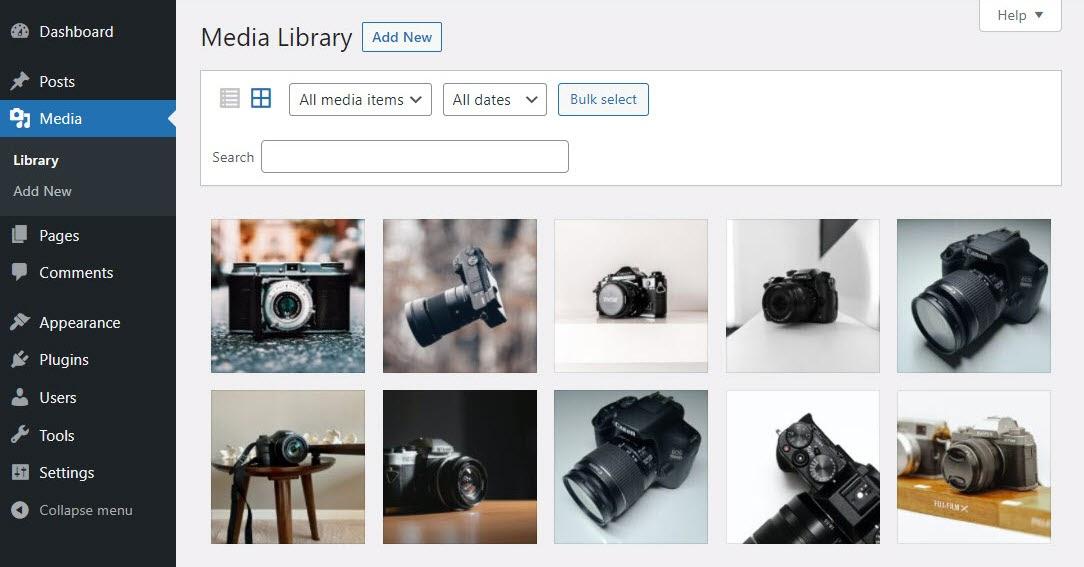 The WordPress Media Library.