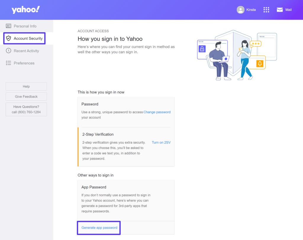 How to create a Yahoo Mail App Password.