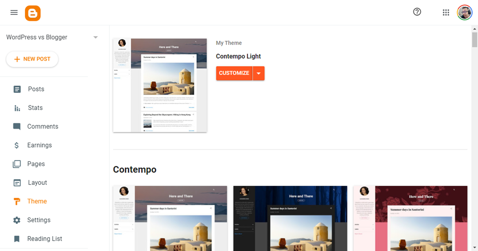 wordpress vs blogger themes