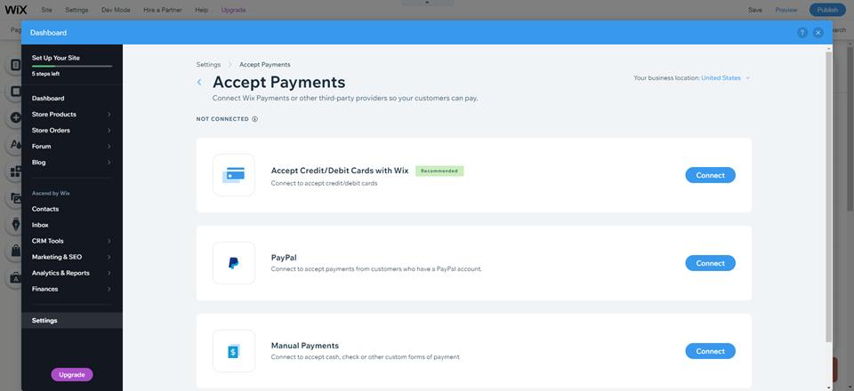 wordpress vs wix add payments