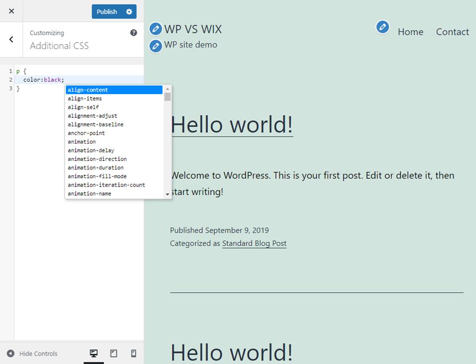 wordpress vs wix customization