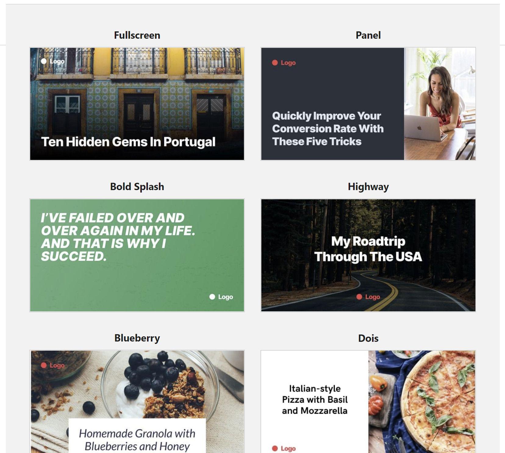 Screenshot of several of the Social Image Generator plugin's built-in templates.