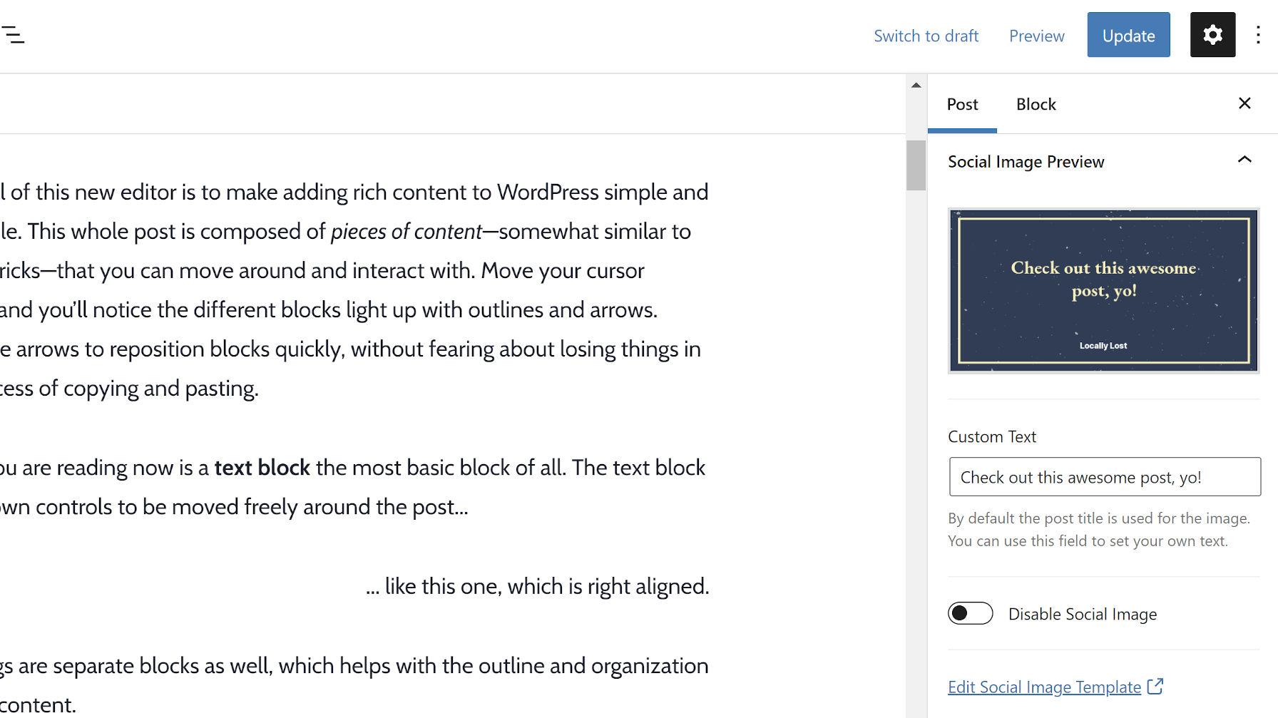 Customizing the social image via a sidebar meta box from the WordPress post editor.