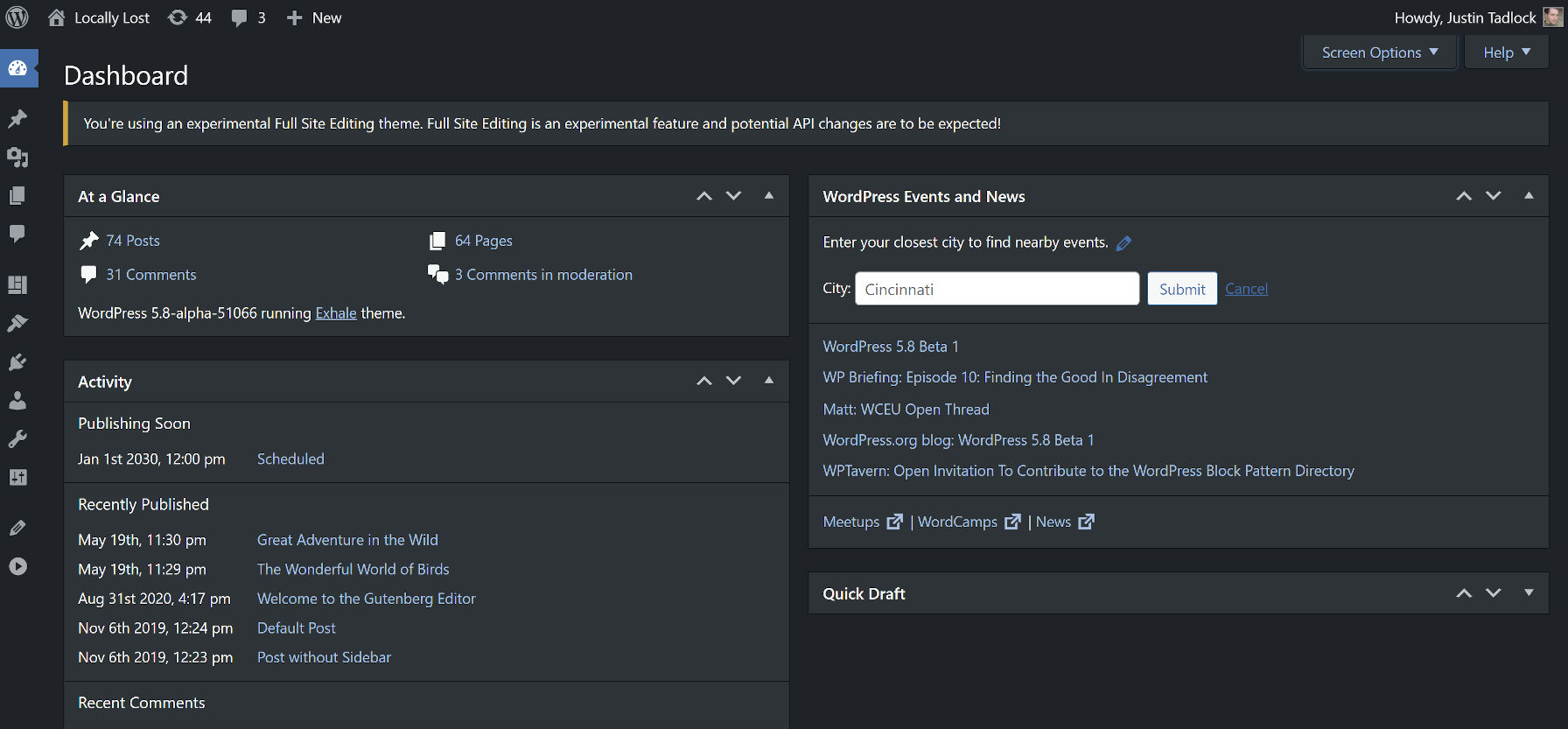 Viewing the WordPress dashboard with dark mode enabled.