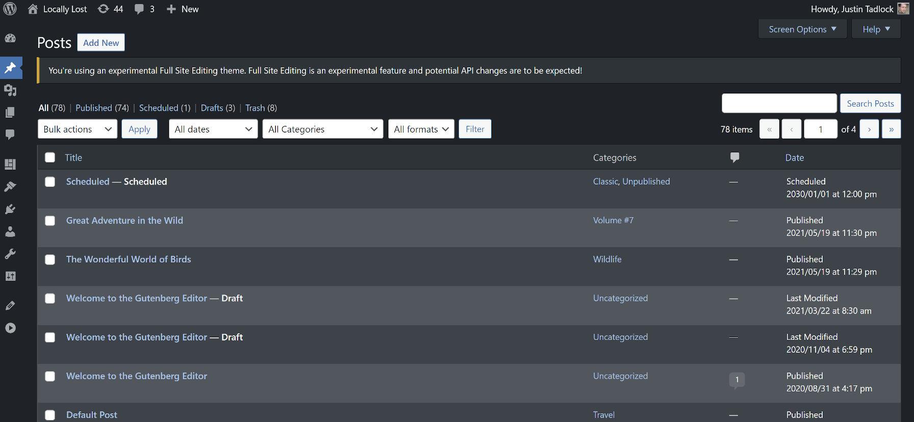Viewing the WordPress manage posts screen in dark mode.