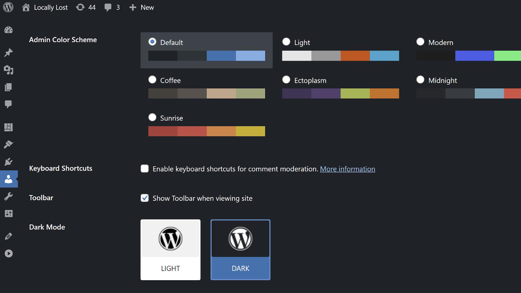 WordPress user profile screen showing The Dark Mode plugin options.