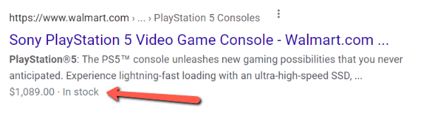 Screenshot of product markup