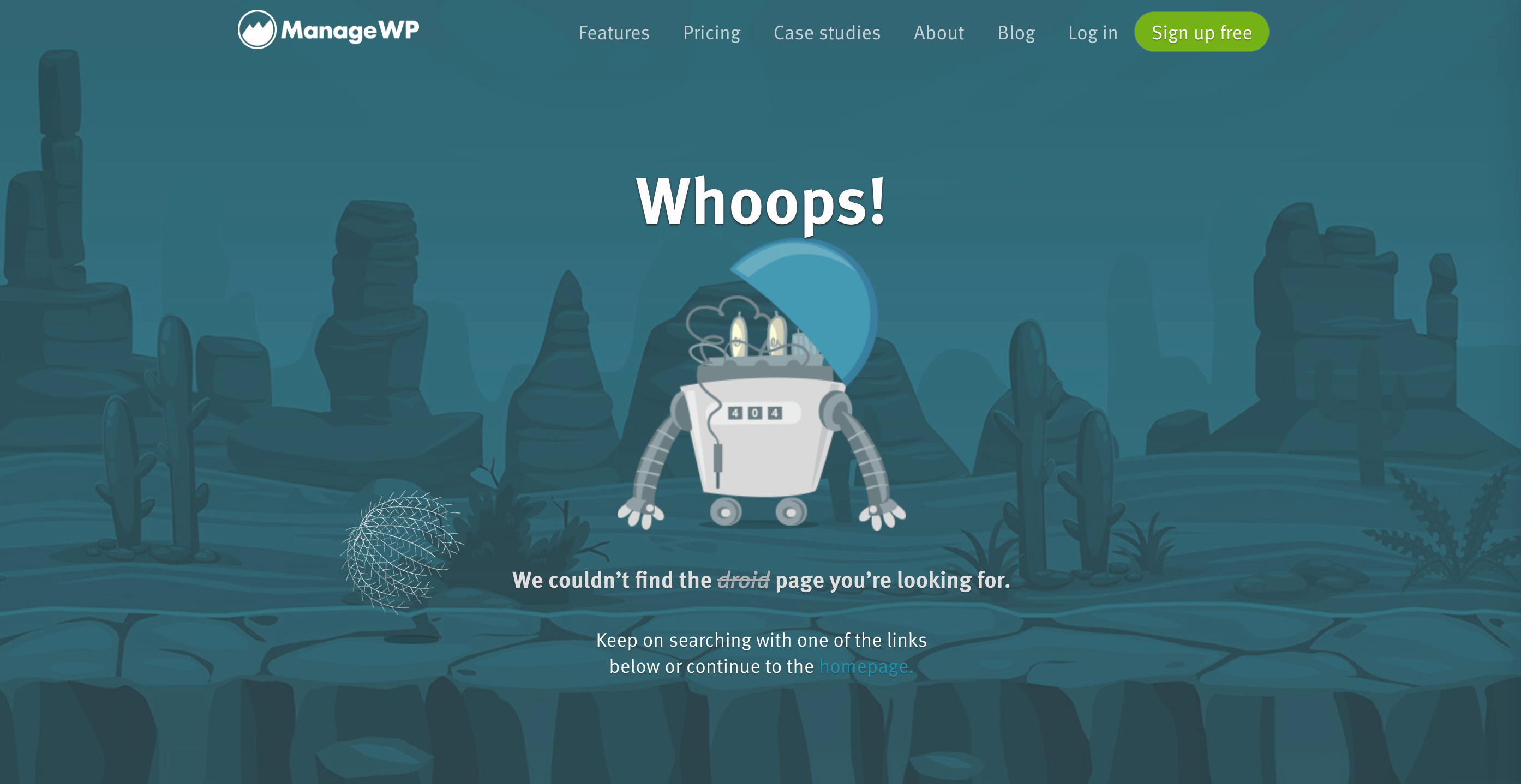 The ManageWP 404 error page.