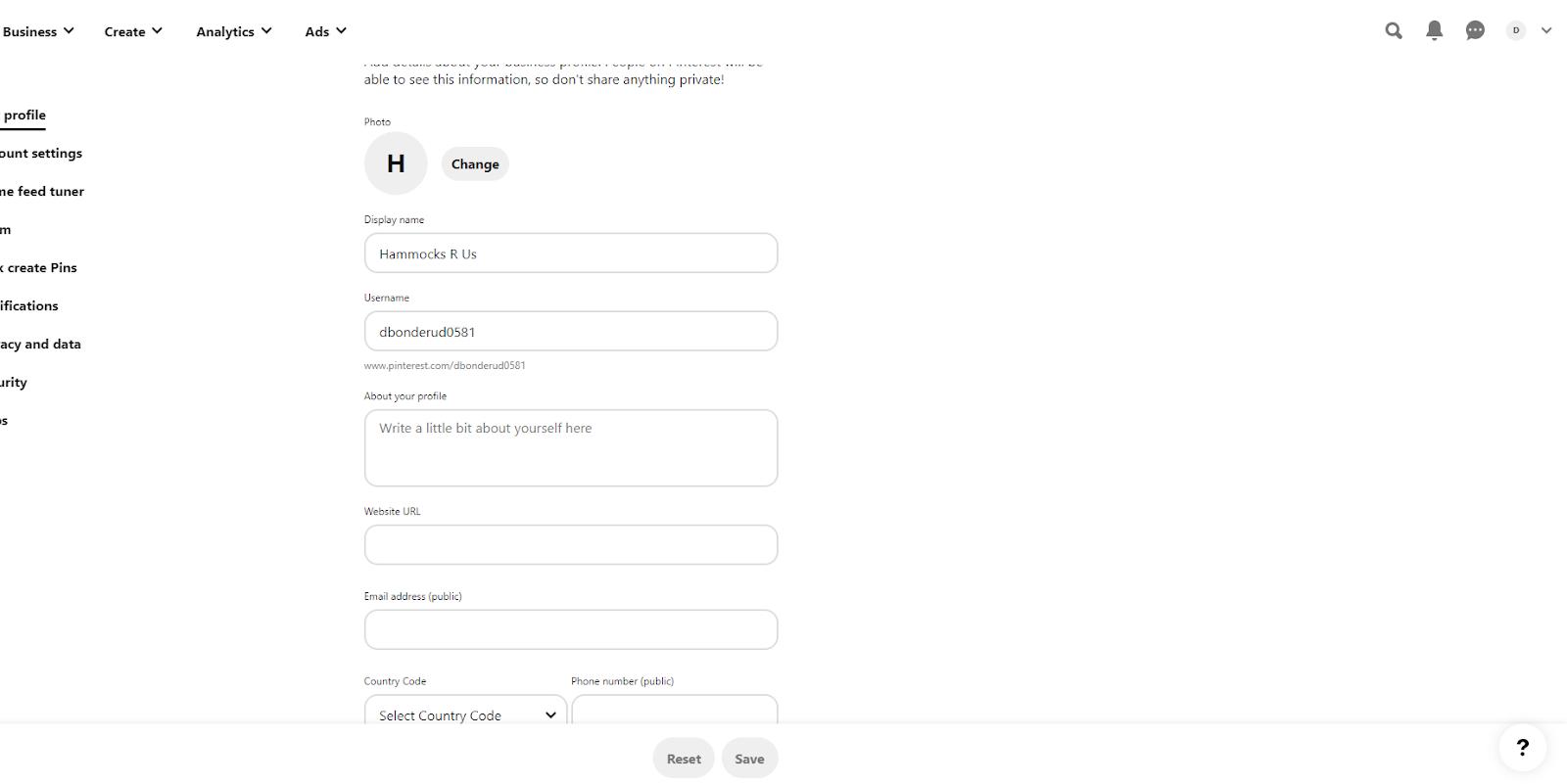 Pinterest customize profile