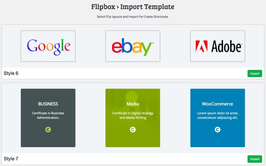 Flipbox import template