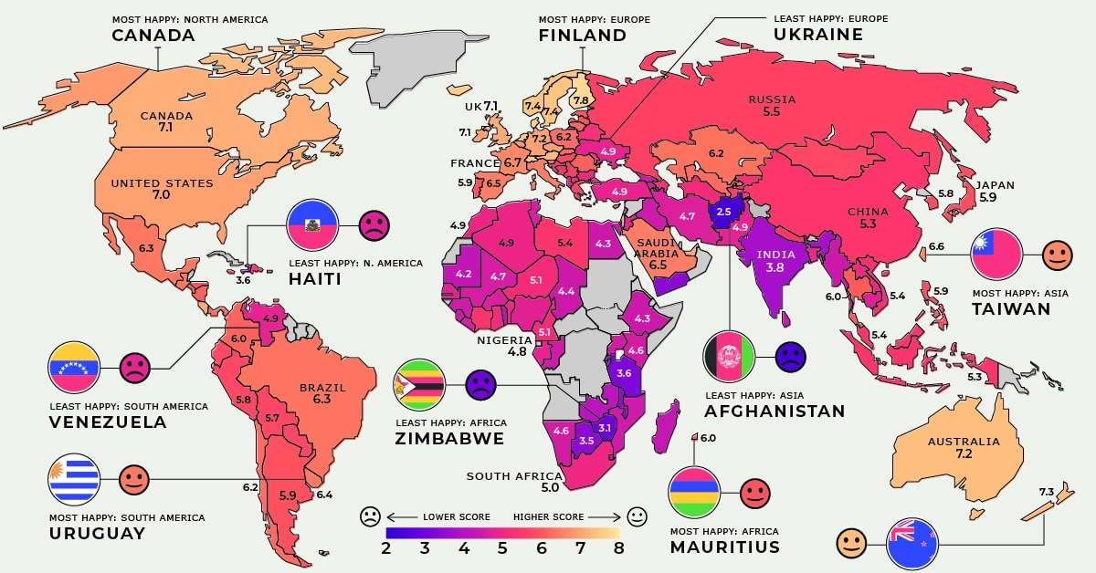 Mapped: Global Happiness Levels in 2021