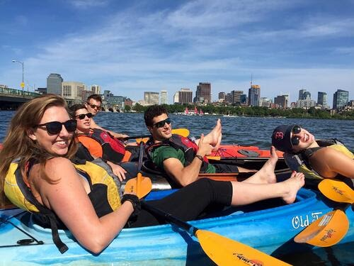 go kayaking or canoeing for a corporate team-building activity