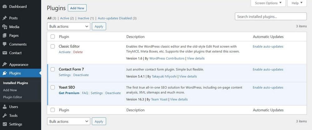 WordPress plugins screen