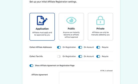 affiliate registration settings