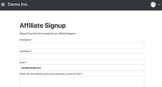 Affiliate sign up page
